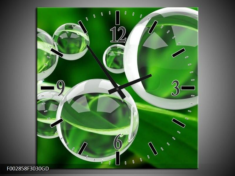 Wandklok op Glas Cirkel | Kleur: Groen, Wit | F002858CGD