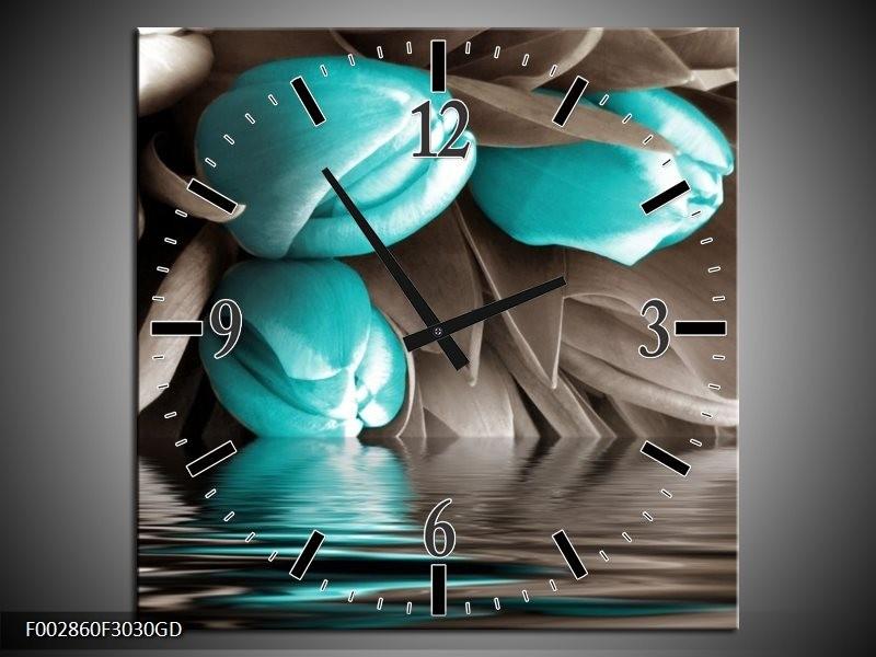 Wandklok op Glas Tulpen | Kleur: Blauw, Grijs, Zwart | F002860CGD