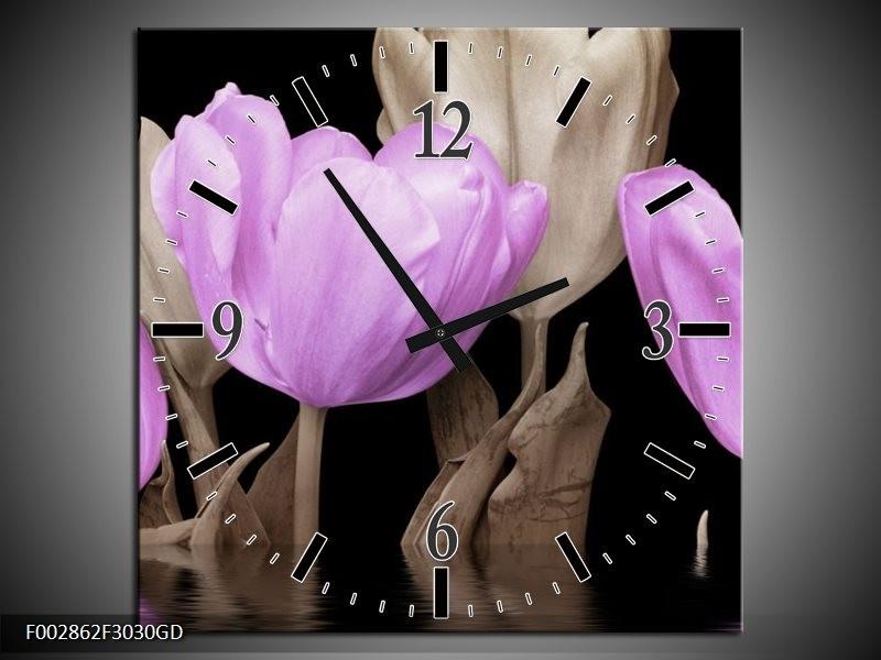 Wandklok op Glas Tulpen | Kleur: Paars, Grijs | F002862CGD