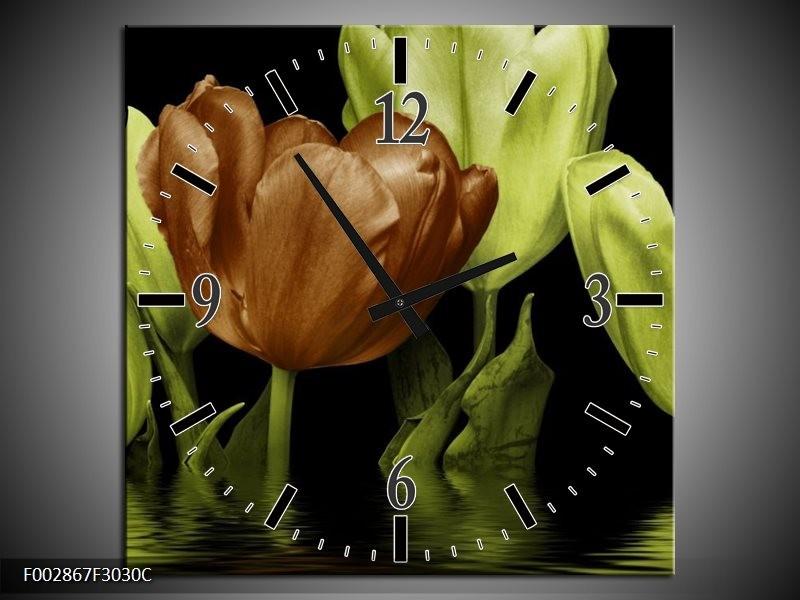 Wandklok op Canvas Tulpen | Kleur: Groen, Bruin | F002867C