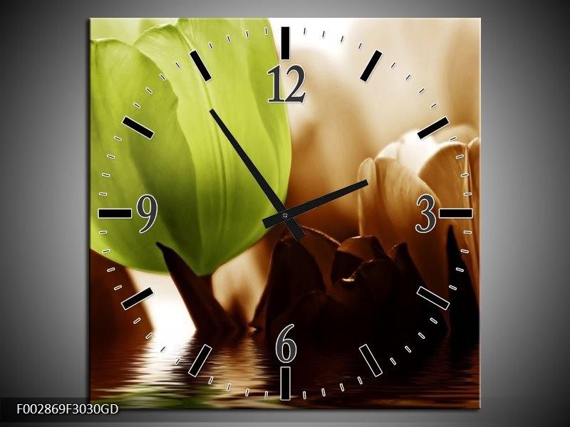 Wandklok op Glas Tulpen   Kleur: Groen, Bruin   F002869CGD