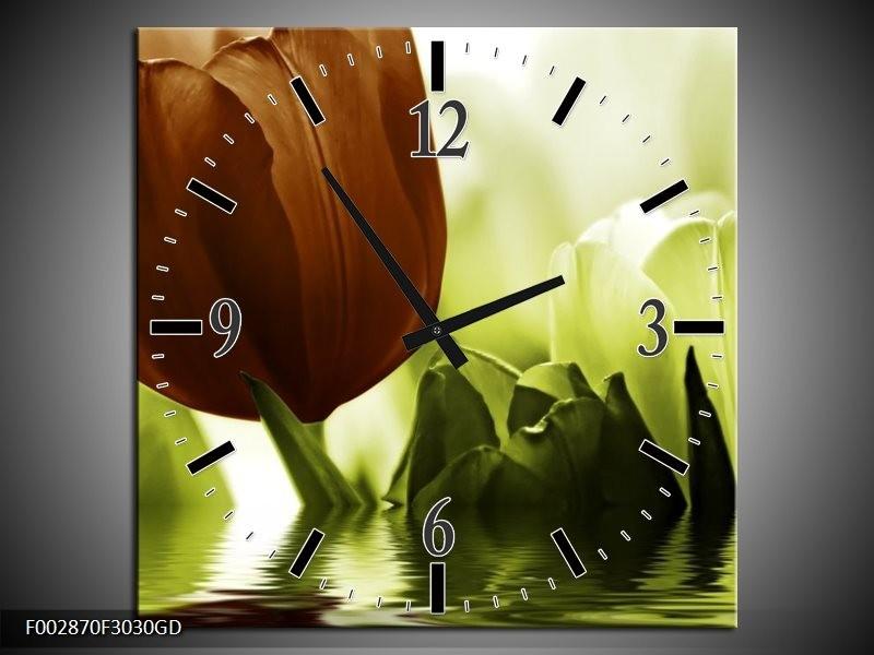 Wandklok op Glas Tulpen | Kleur: Groen, Bruin | F002870CGD