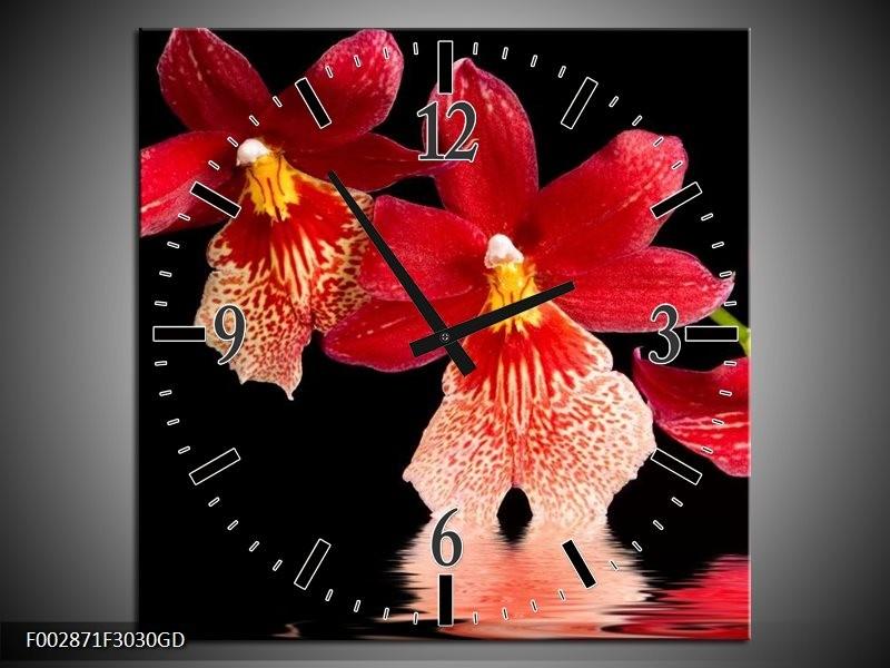 Wandklok op Glas Orchidee | Kleur: Rood, Zwart, Wit | F002871CGD