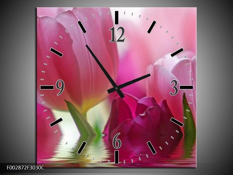 Wandklok op Canvas Tulpen   Kleur: Roze, Wit, Groen   F002872C