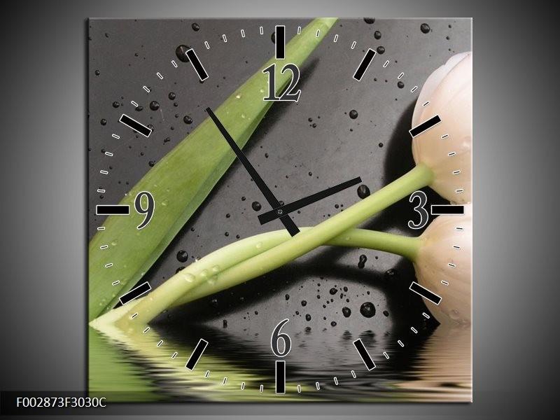 Wandklok op Canvas Tulpen | Kleur: Wit, Groen, Grijs | F002873C