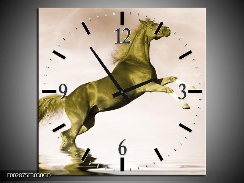 Wandklok op Glas Paard | Kleur: Groen, Goud, Sepia | F002875CGD