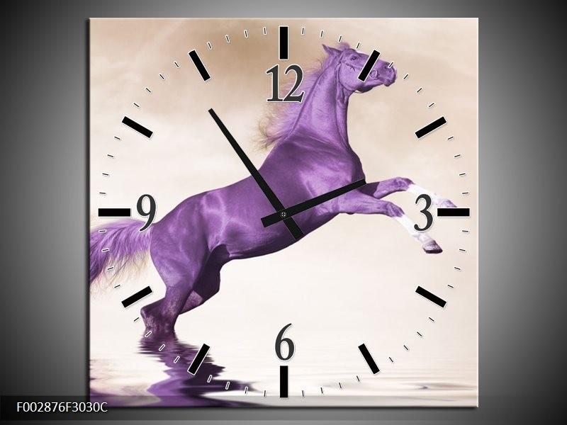 Wandklok op Canvas Paard | Kleur: Paars, Sepia | F002876C