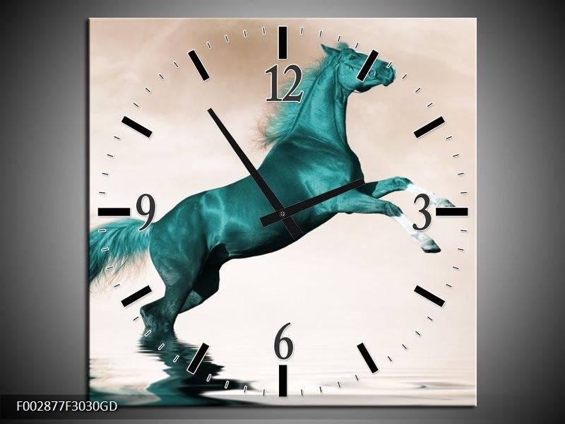 Wandklok op Glas Paard | Kleur: Groen, Sepia | F002877CGD