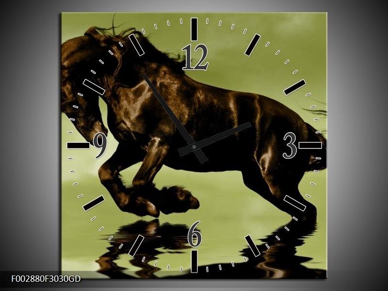 Wandklok op Glas Paard | Kleur: Groen, Bruin, Zwart | F002880CGD