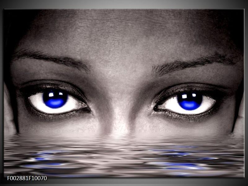 Foto canvas schilderij Ogen | Blauw, Grijs, Zwart
