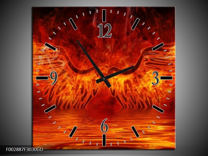Wandklok op Glas Engel | Kleur: Oranje, Bruin, Zwart | F002887CGD