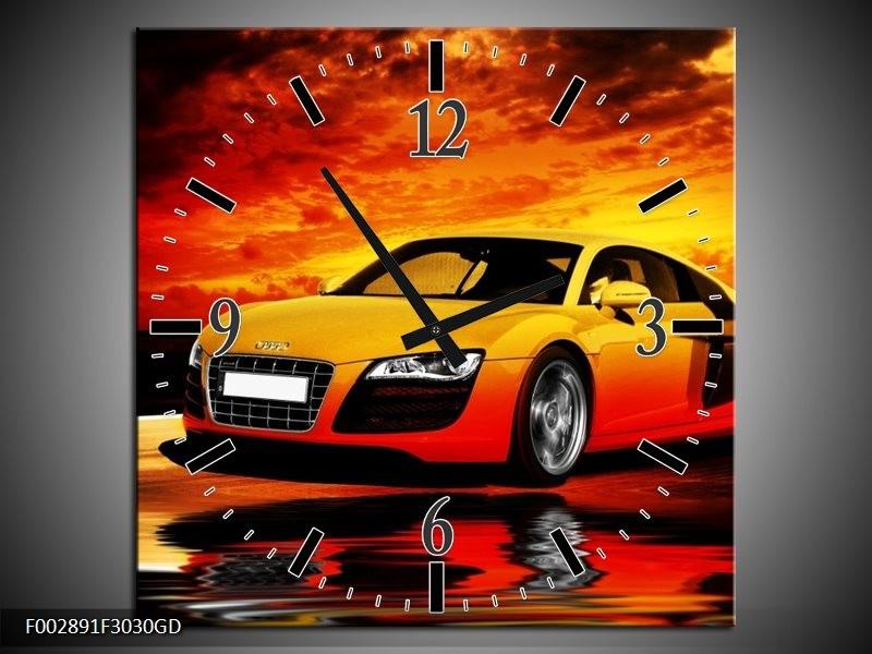 Wandklok op Glas Audi | Kleur: Oranje, Zwart, Geel | F002891CGD
