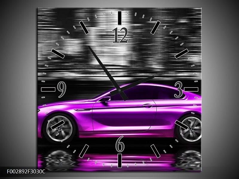 Wandklok op Canvas Auto   Kleur: Paars, Zwart, Grijs   F002892C