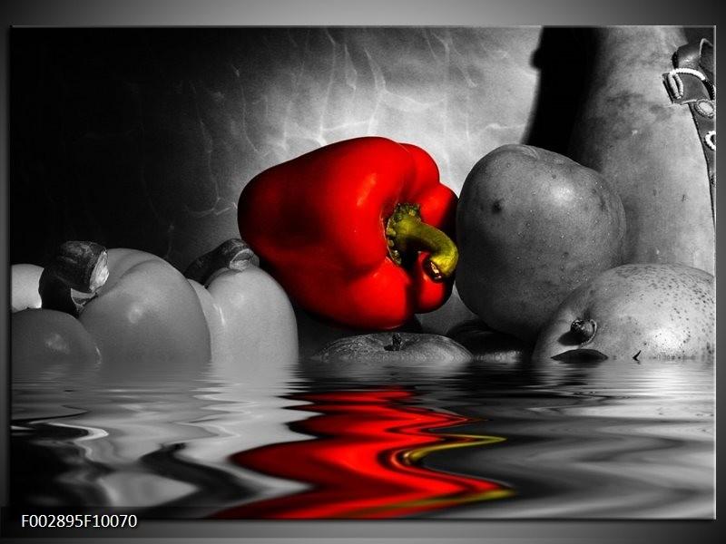 Foto canvas schilderij Paprika   Rood, Grijs, Zwart