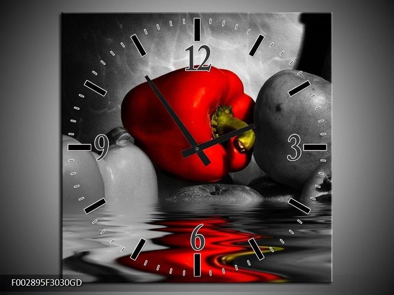 Wandklok op Glas Paprika | Kleur: Rood, Grijs, Zwart | F002895CGD