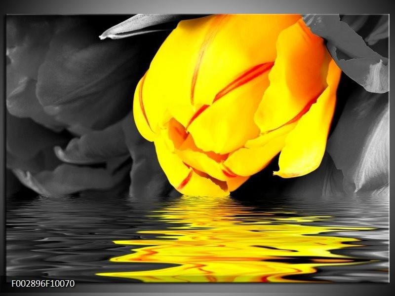 Foto canvas schilderij Tulpen | Geel, Grijs, Zwart