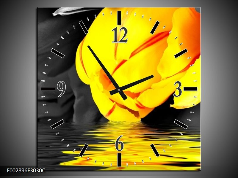 Wandklok op Canvas Tulpen   Kleur: Geel, Grijs, Zwart   F002896C