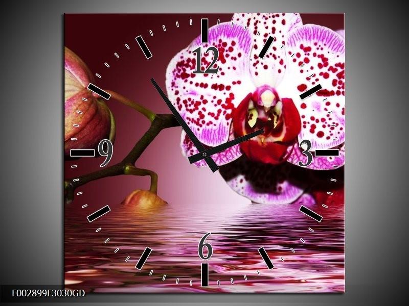 Wandklok op Glas Orchidee | Kleur: Paars, Roze, Rood | F002899CGD