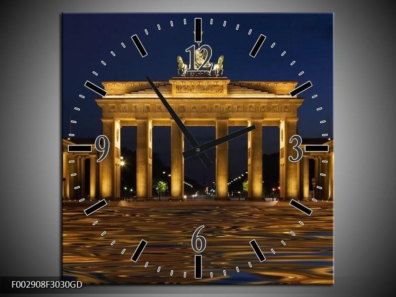 Wandklok op Glas Berlijn | Kleur: Geel, Bruin, Zwart | F002908CGD