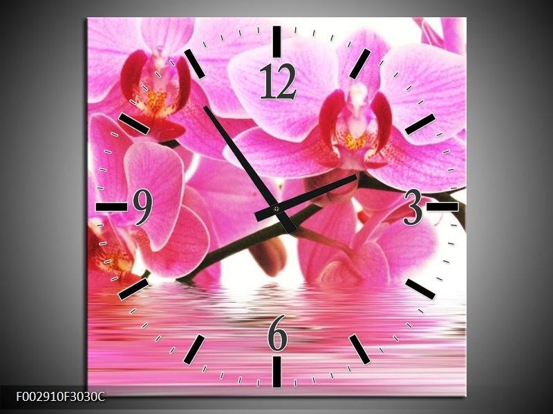 Wandklok op Canvas Orchidee | Kleur: Roze, Wit | F002910C