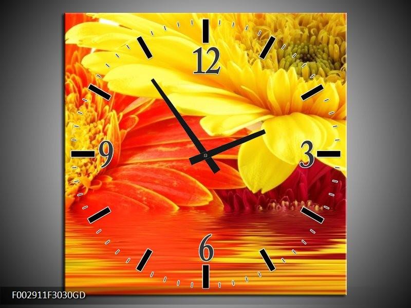 Wandklok op Glas Gerbera | Kleur: Geel, Oranje | F002911CGD