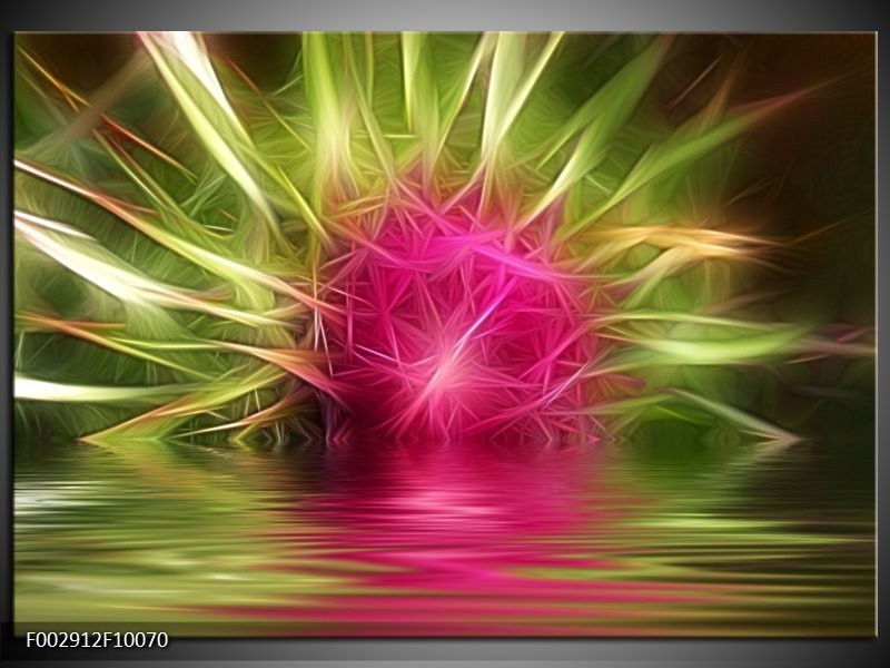 Foto canvas schilderij Abstract | Paars, Groen, Wit