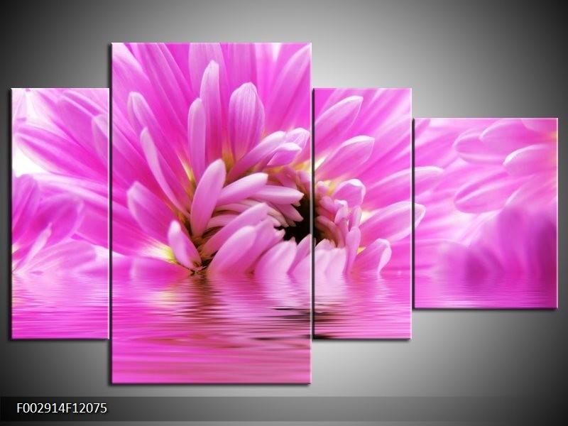 Canvas schilderij Bloem | Roze, Wit | 120x75cm 4Luik