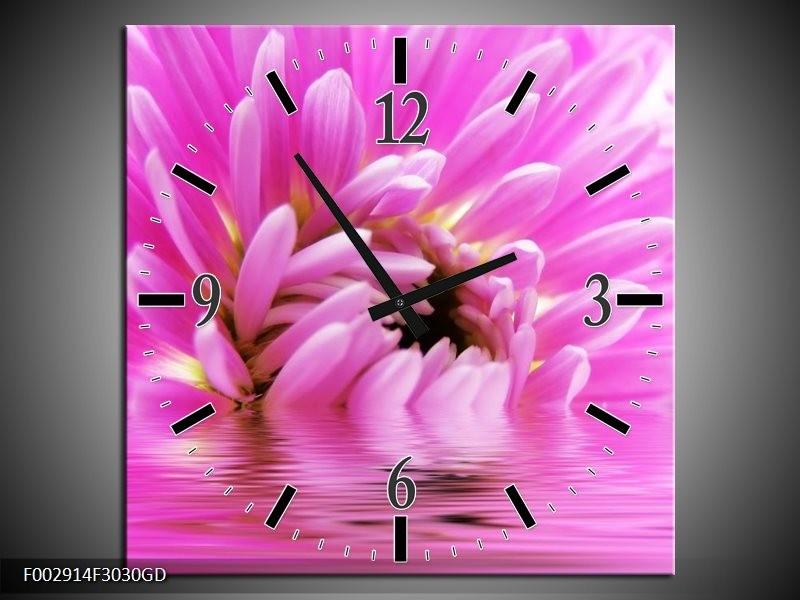 Wandklok op Glas Bloem | Kleur: Roze, Wit | F002914CGD