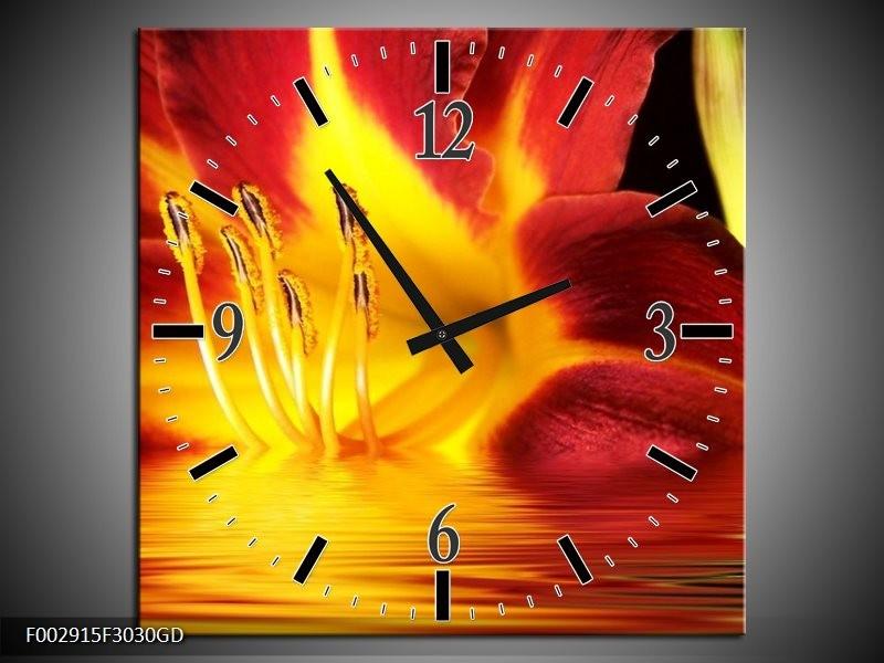 Wandklok op Glas Bloem | Kleur: Geel, Rood, Zwart | F002915CGD