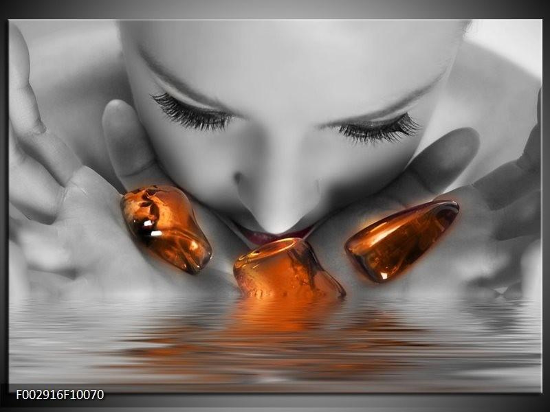 Foto canvas schilderij Gezicht | Oranje, Grijs