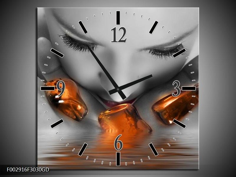 Wandklok op Glas Gezicht   Kleur: Oranje, Grijs   F002916CGD
