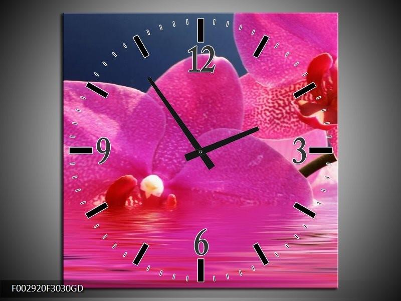 Wandklok op Glas Orchidee | Kleur: Paars, Wit, Blauw | F002920CGD