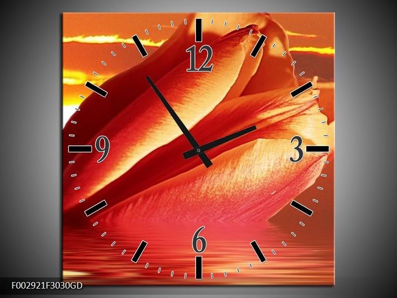 Wandklok op Glas Tulpen | Kleur: Rood, Oranje, Geel | F002921CGD