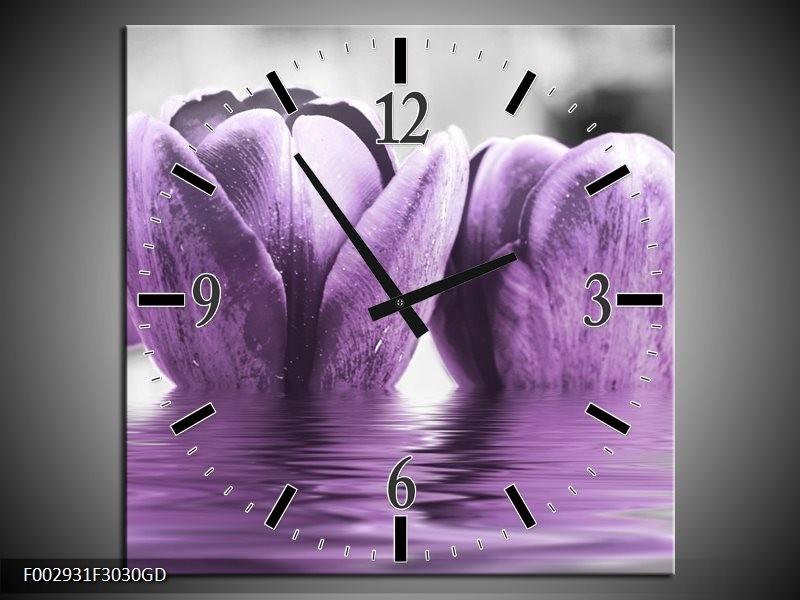 Wandklok op Glas Tulpen | Kleur: Paars, Grijs, Zwart | F002931CGD