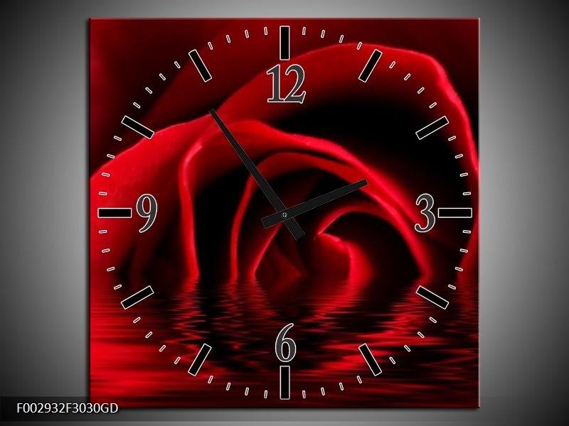 Wandklok op Glas Roos   Kleur: Zwart, Rood   F002932CGD
