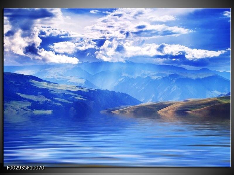 Foto canvas schilderij Bergen | Blauw, Wit, Grijs
