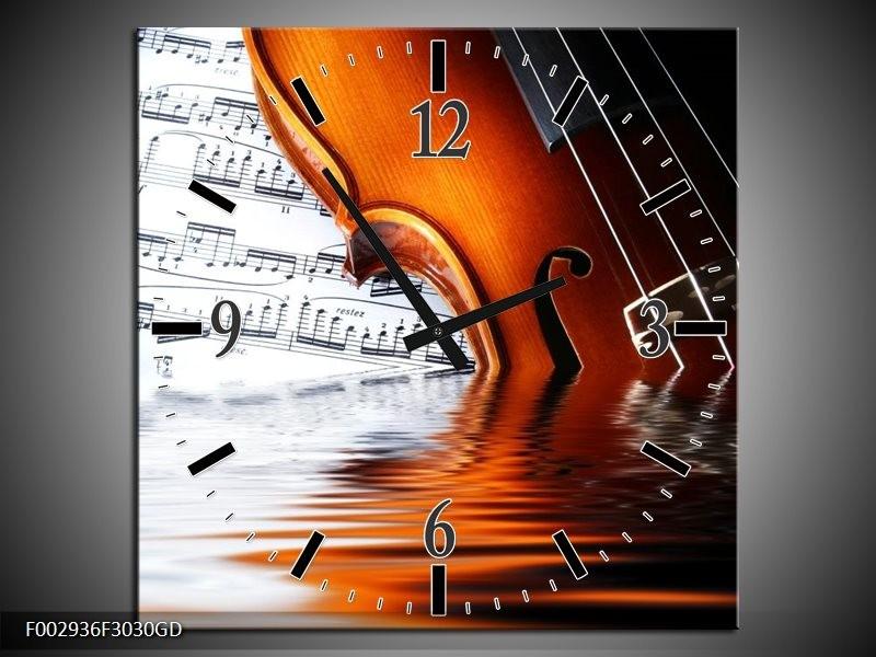 Wandklok op Glas Instrument | Kleur: Wit, Bruin, Zwart | F002936CGD