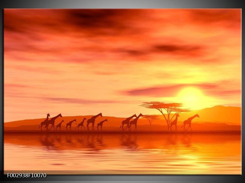 Foto canvas schilderij Afrika | Oranje, Geel, Bruin