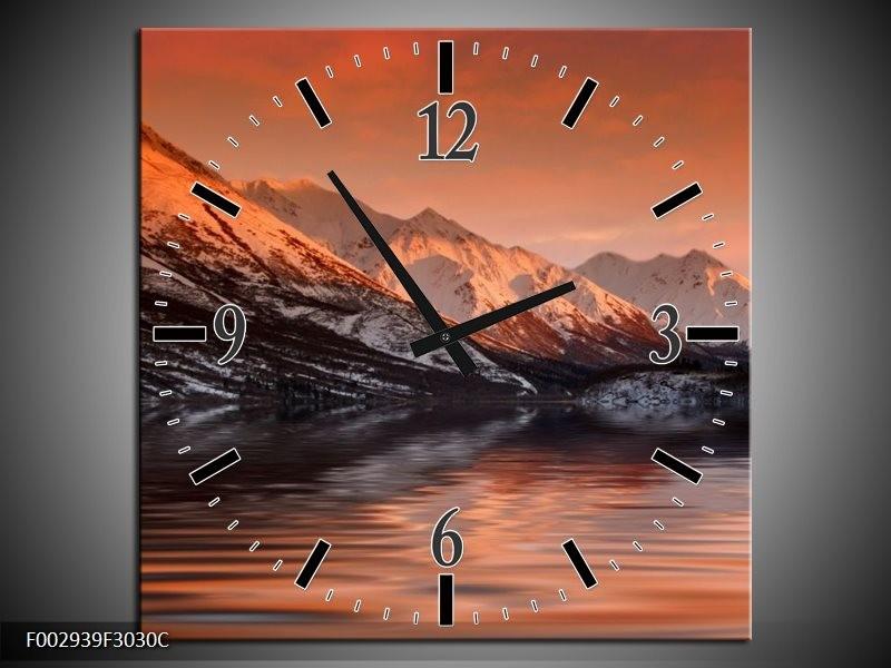 Wandklok op Canvas Bergen   Kleur: Bruin, Zwart, Rood   F002939C