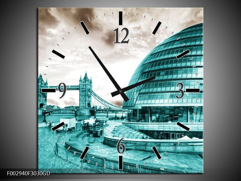 Wandklok op Glas Brug | Kleur: Groen, Sepia | F002940CGD