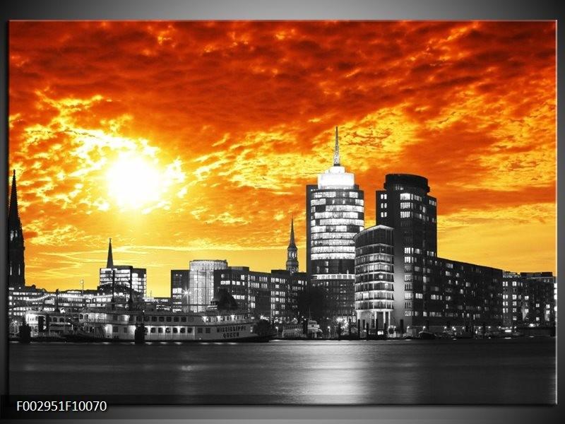 Foto canvas schilderij Gebouw   Oranje, Geel, Grijs