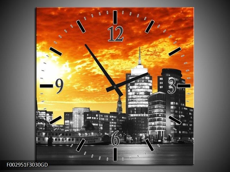 Wandklok op Glas Gebouw | Kleur: Oranje, Geel, Grijs | F002951CGD