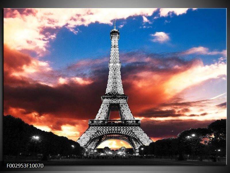Foto canvas schilderij Parijs   Blauw, Paars, Grijs