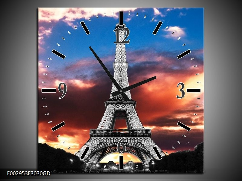 Wandklok op Glas Parijs | Kleur: Blauw, Paars, Grijs | F002953CGD