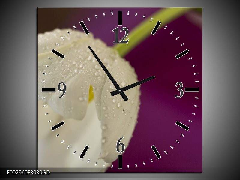 Wandklok op Glas Tulpen | Kleur: Wit, Paars | F002960CGD
