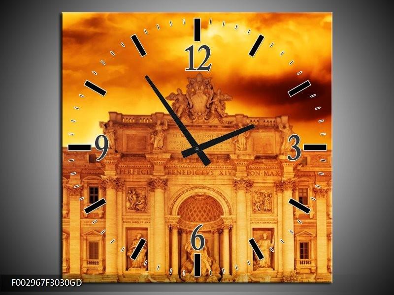 Wandklok op Glas Gebouw | Kleur: Oranje, Bruin | F002967CGD