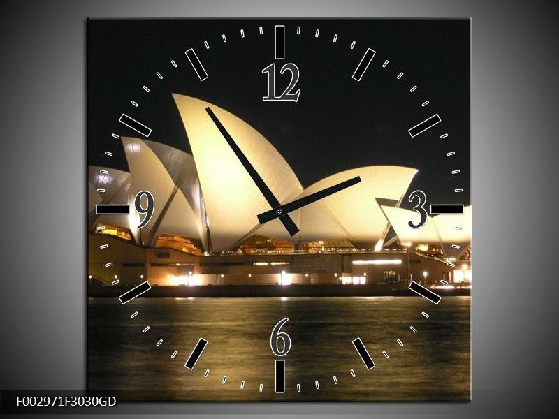 Wandklok op Glas Sydney   Kleur: Wit, Zwart, Grijs   F002971CGD