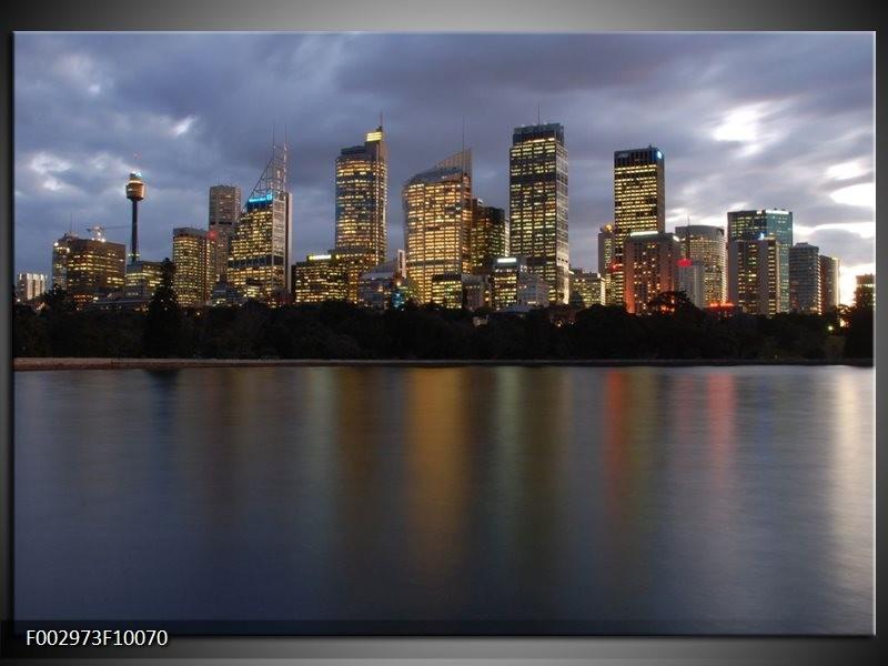 Foto canvas schilderij Uitzicht | Grijs, Blauw, Wit