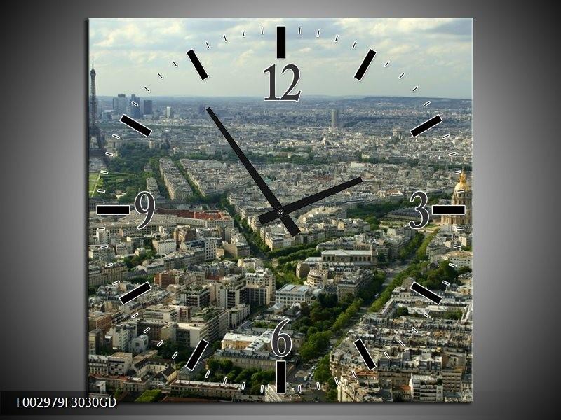 Wandklok op Glas Paris | Kleur: Groen, Grijs | F002979CGD