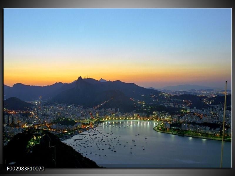 Foto canvas schilderij Uitzicht | Blauw, Groen, Geel